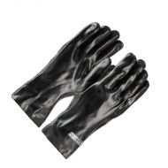 "PVC Dipped Gloves, Black, Lined, Smooth, 12"" long, 12 pair/BX"