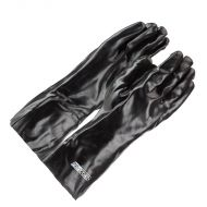"PVC Dipped Gloves, Black, Lined, Smooth, 14"" long, 12 pair/BX"