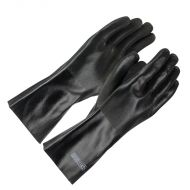 "PVC Double Dipped Gloves, Black, Sandy, 14"" long, 12 pair/BX"